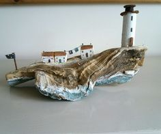 handmade driftwood lighthouse cottage sculpture ornament wedding gift in Home, Furniture & DIY, Home Decor, Decorative Ornaments & Figures Handmade Wedding Gifts, Handmade Home Decor, Diy Home Decor, Driftwood Projects, Driftwood Art, Beach Crafts, Home Crafts, Reclaimed Wood Art, Wood Creations