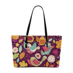 Cute Birds and Flowers Floral Pattern Euramerican Tote Bag/Large (Model 1656)