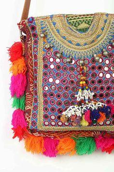 Muzungu Sisters Bandolera Embroidered Mirror Shoulder Bag
