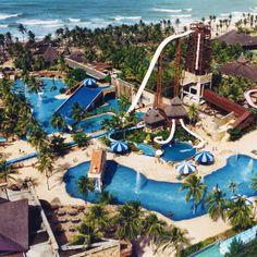 Fortaleza Brazil Beaches Beach Park Water park on the Beach Brazil Beaches, Beach Park, Water Playground, Brazil Travel, Park Resorts, Water Slides, South America, Latin America, Amusement Park