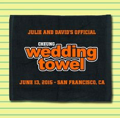 Our San Francisco Giants inspired wedding towel makes the perfect accent for your Baseball Themed Wedding.  Get a quote for your towel guest favors today!  #baseballwedding  #stwdotcom