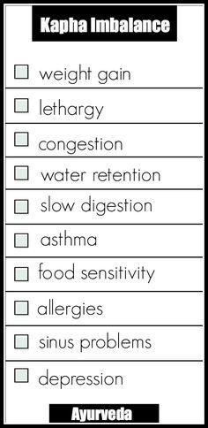 Here is a pretty handy checklist for Kapha Dosha Imbalances according to Ayurveda.