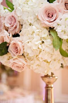 Tall White Hydrangea and Blush Pink Rose Wedding Centerpiece Flowers in Gold Vase
