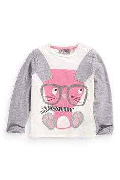 Buy Grey And Ecru Bunny Multibuy T-Shirt (3mths-6yrs) from the Next UK online shop