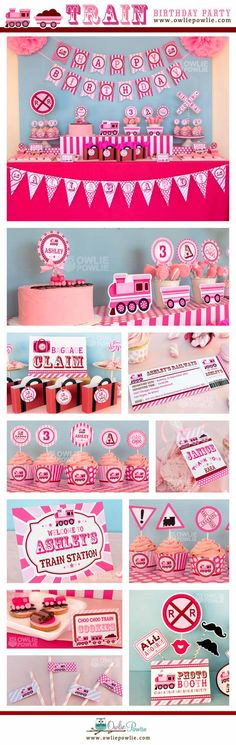 Pink Train BIRTHDAY Party Printable Package & Invitation, INSTANT DOWNLOAD, You Edit Yourself with Adobe Reader