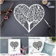 Heart Tree Papercut Template | Free download