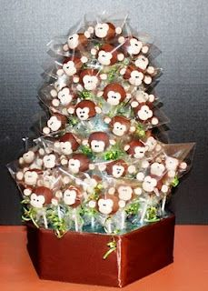 Monkey cake pops - outside of the eyes needing to have a little more space between them, cute boy monkey!