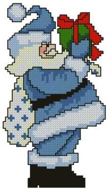 Advanced Embroidery Designs - Santa with Gift Santa Cross Stitch, Cross Stitch Kits, Cross Stitch Charts, Cross Stitch Designs, Cross Stitch Patterns, Cross Stitching, Cross Stitch Embroidery, Advanced Embroidery, Christmas Embroidery