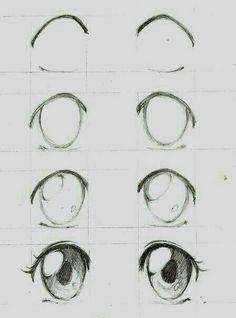 Learn To Draw Manga - Drawing On Demand - Anime / manga eyes step by step – # animemanga - Eye Drawing Tutorials, Drawing Techniques, Drawing Tips, Drawing Ideas, Drawing Drawing, Sketch Ideas, Hair Tutorials, Manga Art, Manga Anime