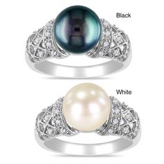 Miadora Sterling Silver Pearl and 1/10ct TDW Diamond Ring (H-I, I3) (9-9.5 mm) (Black Size 5), Women's