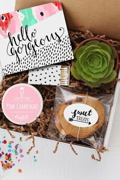 Hello Gorgeous Gift Box - $34 - The only thing better than giving one present your bestie will love is giving her three, including a candle, a succulent, and cookies. See more great gifts for your best friend at HouseBeautiful.com.