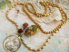 DUET necklace assemblage religious medal spring by lilyofthevally