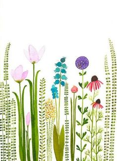 SALEcolorful garden original watercolorSALE by zuhalkanar on Etsy … - Top 99 Pencil Drawings Watercolor Cards, Watercolor Illustration, Watercolour Painting, Watercolor Flowers, Painting & Drawing, Drawing Flowers, Garden Illustration, Motif Floral, Arte Floral