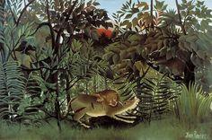 飢えたライオン    (Lion ayant fain se jette sur l'antilope) 1905年  200×300cm | 油彩・画布 | バーゼル美術館(スイス)