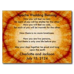 Apache Wedding Blessing Old Paper Post Card