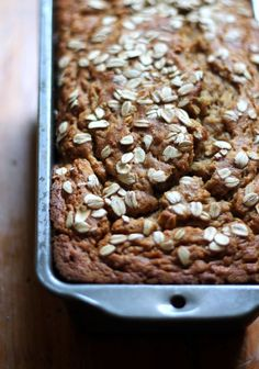 Naturally sweetened applesauce banana bread made with whole wheat flour and oatmeal. This healthy whole grain banana bread has no butter or oil!