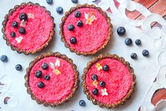 These stunning raspberry tarts not only look divine - they taste it too. They're gluten free, vegan and sugar free - yet taste deliciously sweet.