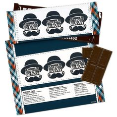 """Use these Little Man Mustache Large Candy Bar Wrappers to match your party theme! Simply wrap around your candy bars. Includes (8) Large Candy Wrappers that measure 7.5""""W x 6.5""""H. Large Wrappers fit most standard size candy bars (approximately 2.25"""" high x 6"""" wide). Candy is not included."""