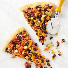 Black Bean Pizza #recipe Really easy, but I need a better/bigger pan to make a crunchier crust (and so the topping can be spread across a larger area than what I had)