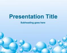 Free life and water PowerPoint template with water bubbles and light blue color