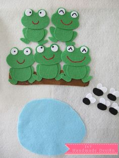 Five little speckled frogs sat on a speckled log eating the most. Best Picture For Diy Felt Board Flannel Board Stories, Felt Board Stories, Felt Stories, Flannel Boards, Felt Diy, Felt Crafts, Toddler Crafts, Preschool Activities, Felt Board Patterns