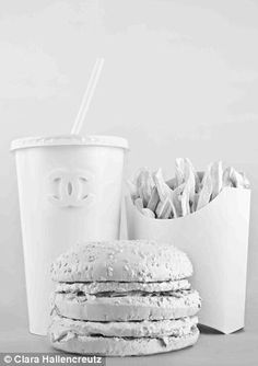Taste Chanel White Burger. What would fashion taste like? Creative drawing idea