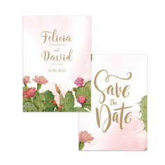 Puderrosa kaktus – Save The Date – The Paper Story Save The Date, Place Cards, Place Card Holders, Paper, Products