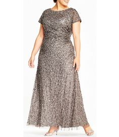 Adrianna Papell Plus Size Sequin Draped Gown. Plus size gowns. Disclosure: My pins are affiliate lin Fancy Dress Plus Size, Plus Size Gowns, Evening Dresses Plus Size, Wedding Dresses Plus Size, Plus Size Outfits, Evening Gowns, Long Mothers Dress, Mothers Dresses, Mother Of Bride Outfits