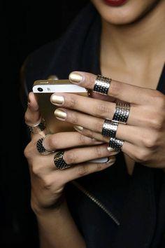 Gold nails, silver rings