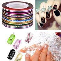 Buy Mixed Colors Rolls Striping Tape Line Nail Art Decoration Sticker VVF at Wish - Shopping Made Fun Nail Art Hacks, Nail Art Diy, Diy Nails, Manicure, Striping Tape Nail Art, Tapas, Diy Nail Decorations, Line Nail Art, Gel Tips