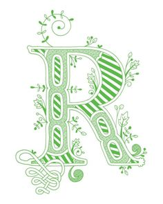 Hand drawn monogrammed print, 8x10, the Letter R, in the color green