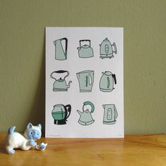 A compendium of kettles- 2 colour screen print for those who love to brew-up! Graphic Design Print, Graphic Design Inspiration, Photographing Artwork, Cute Crafts, Letterpress, Printmaking, Printing On Fabric, Tea Party, Screen Printing