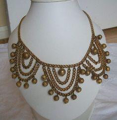 Vintage Coro Lot Big Gold Tone Modernist Chandelier Necklace Earrings Brooch   eBay