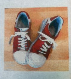 Red Walking Shoes Make a Great Needlepoint Canvas, read the background story at our blog!