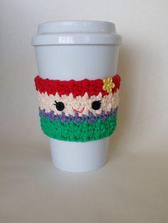 Ravelry: Ariel Little Mermaid Coffee Cup Cozy pattern by The Enchanted Ladybug Crochet Coffee Cozy, Coffee Cup Cozy, Crochet Cozy, Crochet Gifts, Cute Crochet, Crochet Hooks, Coffee Cups, Hot Coffee, Crochet Snowman
