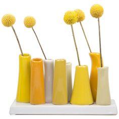 Dot & Bo Sunshine Bud Vase (45 CAD) ❤ liked on Polyvore featuring home, home decor, vases, decor, flowers, fillers, ceramic vase, ceramic home decor, yellow ceramic vase and ceramic bud vase