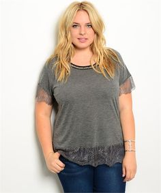 Charcoal Curvy Lace Detail Top - My Sisters Closet