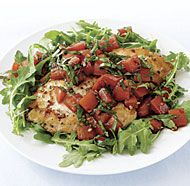 Chicken Cutlets with Tomatoes and Basil--incredibly delicious!  Instead of serving this on arugula, I served it with a side of roasted zucchini chunks, but otherwise followed the recipe.  It was wonderful!