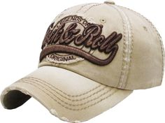 2b1ab525ae5 Details about Rock N Roll Vintage Distressed Baseball Cap Dad Hat Adjustable