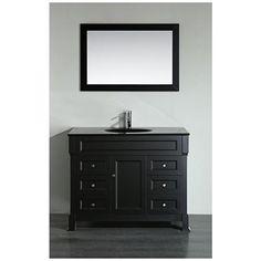 "Bosconi 43"" Black 6-Drawer Black Glass 1-Sink Vanity Set - #12Y53   Lamps Plus"