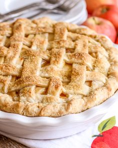 There's nothing like a slice of warm apple pie served with vanilla ice cream! This recipe for Homemade Apple Pie has proven to be the BEST apple pie recipe around. With a flaky, buttery crust made from scratch, and a gooey, sweet apple filling, this pie will not disappoint!