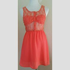 Lush Coral Lace Top Dress w/ Bandeau Lush Coral Lace Top Dress w/ Bandeau. Back is completely sheer. Front buttons w/ built in bandeau. Skirt is lined.  EUC.  No Trade or PP  Offers Considered  Bundle discounts Lush Dresses