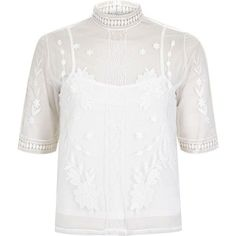 e08fcde9ecf5e5 River Island White embroidered Victoriana blouse ($47) ❤ liked on Polyvore  fea.