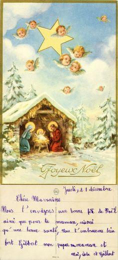Joyeux Noël - une étable dans une forêt, Joseph et Marie près de l'Enfant-Jésus dans une mangeoire, têtes d'angelots dans le ciel (from http://mercipourlacarte.com/picture?/272) Éditeur JG, Paris