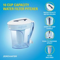 ZeroWater 10-Cup Pitcher with Filter and Water Quality Meter: Amazon.com.au: Kitchen Best Water Filter, Water Filter Pitcher, Water Filters, Water Bottle, Water Filtration System, Water Systems, Inorganic Compound, Free Filters