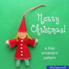 Use this free elf ornament pattern to make Christmas elves or a rainbow of pixies for every day. It's all hand sewing - no machine needed.