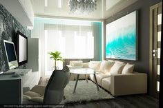 Good Fascinating Apartment Living Room Design With Frame On The Wall Above Sofa  Also Elegant Table On White Furry Rug Including Tv Setup White Vanity And  Black ...