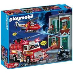 Playmobil 60 Pc Fire Rescue Set with Light and Sound 5879