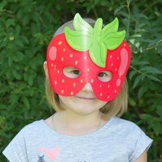 Strawberry Mask Printable, Fruit Paper Mask, Fruit Birthday Photo Props, Costume Fruit, Digital Item by FunBoxz on Etsy Japanese Party, Fruit Birthday, Printable Masks, Paper Mask, Animal Masks, Mask Party, Photo Booth Props, Diy Halloween Decorations, Birthday Photos