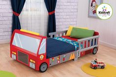 This sturdy wooden fire truck toddler bed is complete with silk-screened fire truck details. This cool toddler cot will make any little firefighter smile. The firetruck toddler bed from the KidKraft design team brings fun, quality, & style together as Truck Toddler Bed, Toddler Cot, Bedroom Sets, Kids Bedroom, Budget Bedroom, Bedding Sets, Master Bedroom, Kids Furniture, Bedroom Furniture